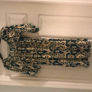 Dark teal & beige print dress or tunic